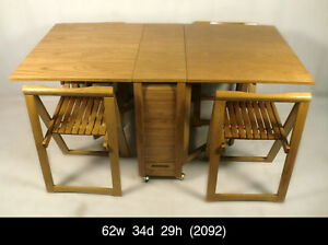 Oak fold away dining table four chairs 2092 r ebay - Fold away table and chairs ...