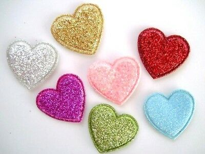 Die Cut Heart Shape - 70 Loose Glitter Heart Shape Applique/Die Cut/Scrapbook/Paper Craft H112-Color