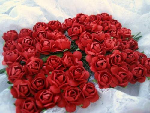144 Mulberry Paper Rose Flower Embellishment/Decoration/Craft/Bouquet H420-Red