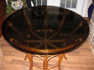"""42"""" round glass dining table"""