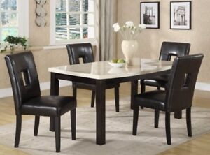 Faux cream marble dining set
