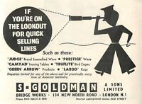 1953 S Goldman Quick Selling Lines Old Street Station Ad -  - ebay.co.uk
