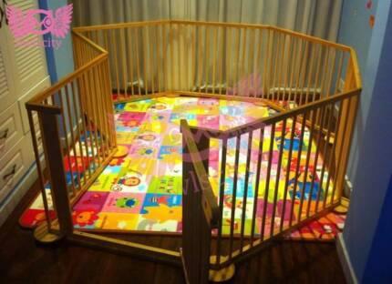Kids Multi purposes Deluxe Natural Wooden Playpen 8 Panels Gates Blackburn Whitehorse Area Preview