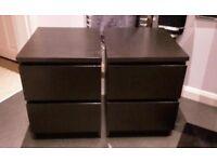 2 x Malm IKEA bedside tables (black/brown)