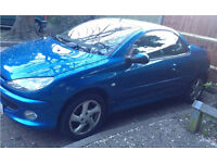 Last price £530 Peugeot 206 Convertible 1.6 Blue Leather Black Seats 2004