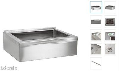 Huge Regency 20 X 16 X 6 Stainless Steel Floor Mount Mop Bucket Sink 10 Back