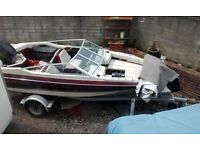 speed boat maxum 170 bow rider 17 foot with 70hp outboard motor , fishing