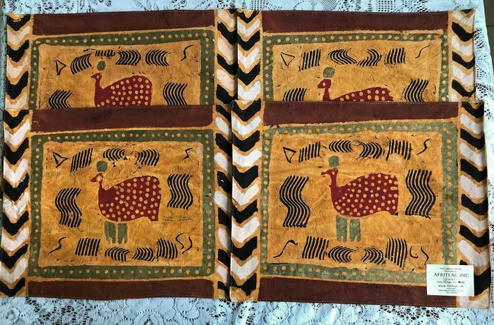 Lot of 4 Placemats Handcrafted in Zimbabwe, Africa, Cotton, Washable