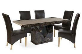 Tenore marble dining table and 6 brown leather chairs