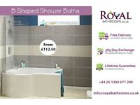 B Shaped Showers Baths available in various size