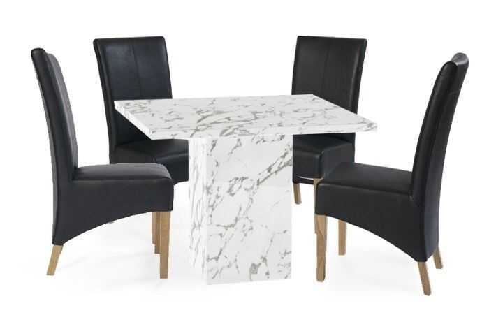 White Calacatta Marble Dining Table And 4 Chairs