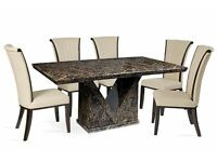 MOCHA LARGE MARBLE DINING TABLE AND 6 CREAM ALPINE CHAIRS