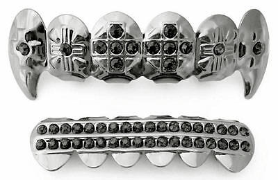 (Silver Mouth Teeth Grills Grillz Top Bottom Set Cross Fangs Black Onyx Stones)