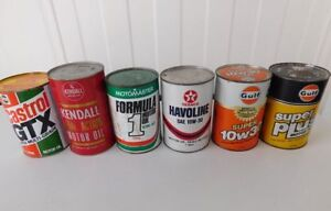 Lot of 6 vintage motor oil cans all full GULF TEXACO CASTROL ect