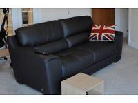 SiSi Italia black large 2 seater leather sofa