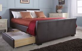 DOUBLE BED - Brown faux leather Sleigh Bed with storage draws - still in box, never opened. £175