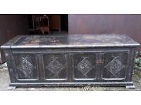 Shabby Jacobean Style Oak Chest Coffer Or Blanket Box - Gothic Trunk