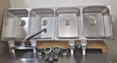 4 Large Compartment Concession Sinks 3 Dish 1 Hand Washing Sink