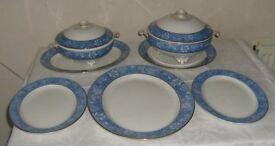 Vintage Soho Pottery, Cobridge, Azalea 5 Chargers 2 Tureens Blue and White (VGC)