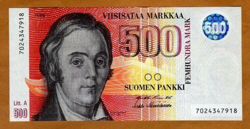 Finland, 500 Markkaa 1986 (1991)  P-120 Lit. A pre-Euro Gem UNC
