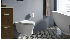 Wall-Hung Elongated Toilet Bowl, White + In-Wall Tank System