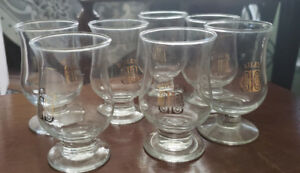 7 Bailey's Irish Cream stemmed tulip shaped shot glasses
