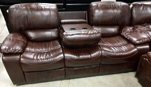 New 3pce reclining console love seat, drop table sofa, recliner