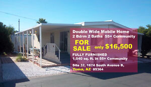 2 Bdrm Furnished Double-wide Mobile Home for Sale in Yuma, AZ