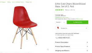 Modern dining chairs Eiffel, wood dowel base set of 2, New!