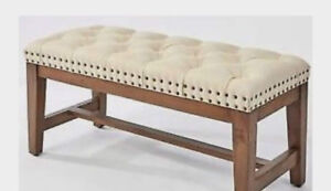 Studded Bench with tufted Fabric and solid Wood frame!!