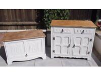 Oak Tv unit and cabinet upcycled