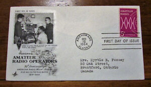 1964 US Amateur Radio Operators 5 Cent First Day Cover Kitchener / Waterloo Kitchener Area image 1
