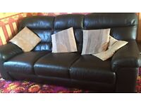 Chocolate brown leather 3 seater & 2 seater sofas