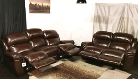 """"""" New ex display Dfs dark brown real leather recliners 3+2 seater sofa"""