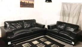 ° Ex display Black Real leather 3+2 seater sofas