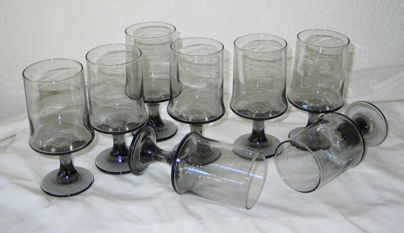 8 Vintage Smoke Glass Mid Century Modern Footed Tumblers Glasses Unknown Maker