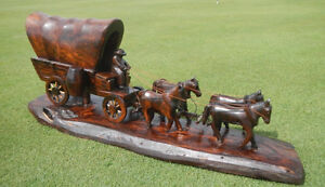 Ironwood Carving - Covered Wagon and Horse Team
