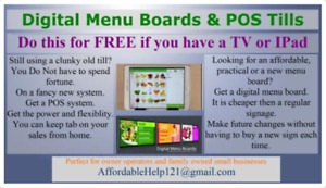 Affordable Menu Boards and POS tills