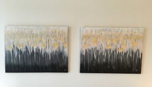 Gold embellishment original acrylic paintings for sale