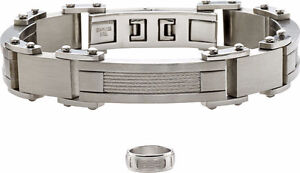 Stainless Steel Men's Cable Bracelet & Ring Set Size 9, New