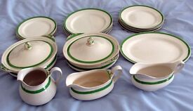 Queens Green, with gold leaf. Dinner service. C 1935. 24 peices. Unused.