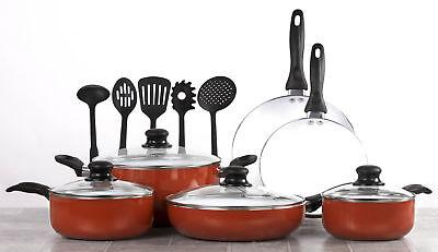Healthy Induction Ceramic Cookware Sets - 15 Pcs. Nonstick Pot and Pan Set