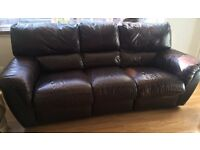 Very large very heavy 3 seater brown leather recliner sofa