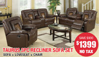 Taurus 3pc Bonded Leather Recliner Set, $1399 Tax Included!