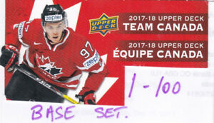 2017-18 CARTE HOCKEY UD CANADIAN TIRE SET COMPLET DE BASE  1-100