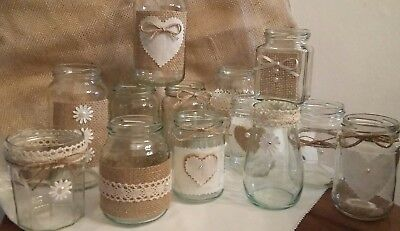 6 Wedding Candle/Flower Jars for CentrePieces Hand Decorated Rustic/Vintage - Rustic Centerpieces For Weddings