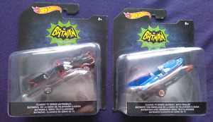 HOT WHEELS CLASSIC TV SERIES BATMOBILE + BAT BOAT AND TRAILER