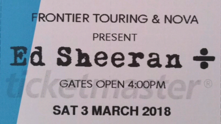 2 x SEATED LEVEL 1, section 143, row 3 tickets! Ed Sheeran Perth.