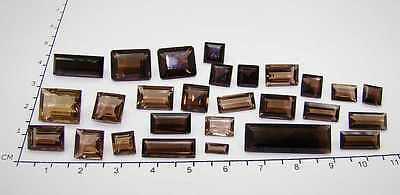 27 Echte Rauchquarze -  verschiedene Formen ca. 74 Carat // Treppenschliff