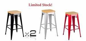 Set of 2 Replica Tolix Bar Stool Bamboo Seat 76cm Metal Kardinya Melville Area Preview